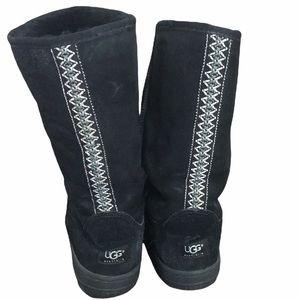 UGG suede black high embroidered sheepskin boots 8